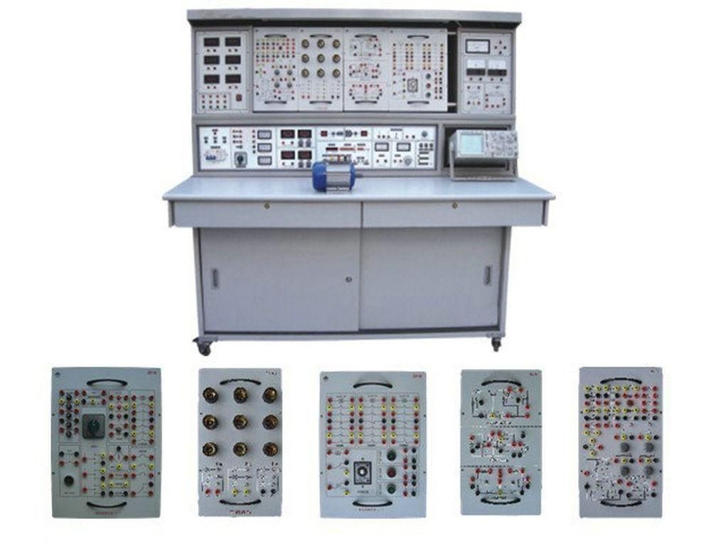 具有较完善的安全保护措施,较齐全的功能。电工、电气控制实验器件采用适应性强的模块式挂箱;在实验屏上完成实验,实验方法灵活,动手能力强,实验连线接点接触可靠,符合不同深度,不同广度的教学要求。数电、模电在九孔通用电路板挂箱上完成,根据实验复杂程度选取挂箱个数,根据实验电路在通用电路板上拼插实验电路,实验元件制成透明盒体,直观性好,盒盖印有永不褪色元件符号,线条清晰美观。盒体与盒盖结合采用较科学的压卡式结构,维修、更换元件拆装方便。该实验台结构合理,学校可随时按需要增添新的模块挂箱,灵活、经济。 二、实验台、