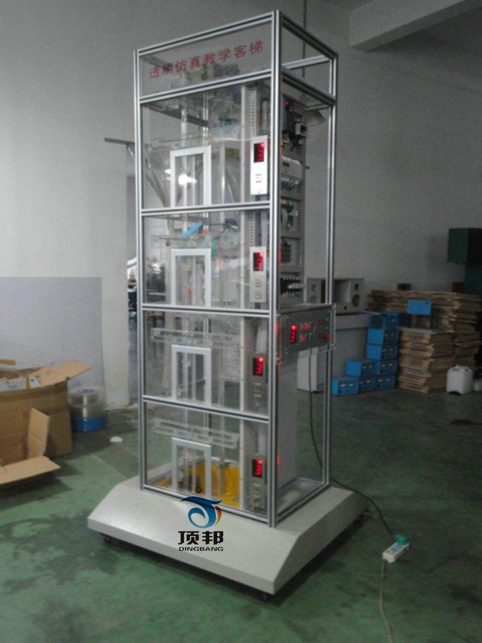 的软硬件均采用开放式结构,因此,院校也可以利用此套装置进行二次开发研究。如:1.群控电梯(统一调度多台集中并列的电梯);2.并联控制电梯(2-3台电梯的控制线路并联,进行逻辑控制,共用层站外召唤按钮);3.集选控制电梯;4.信号控制电梯,等等。    二、电梯的基本结构 1. 机房部分: 包括曳引机、制动器、限速器、曳引 轮、导向轮或复绕轮、手动盘车轮、控制柜、电源开关、轿厢照明开关、井道照明开关。 2.